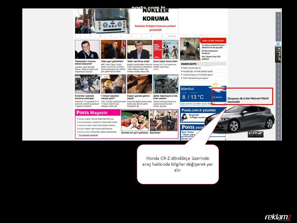 posta.com.tr Honda CR-Z döndükçe üzerinde araç hakkında bilgiler değişerek yer alır