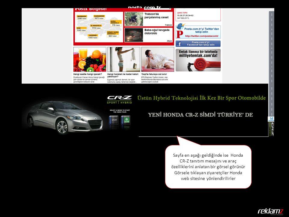posta.com.tr Sayfa en aşağı geldiğinde ise Honda CR-Z tanıtım mesajını ve araç özelliklerini anlatan bir görsel görünür Görsele tıklayan ziyaretçiler