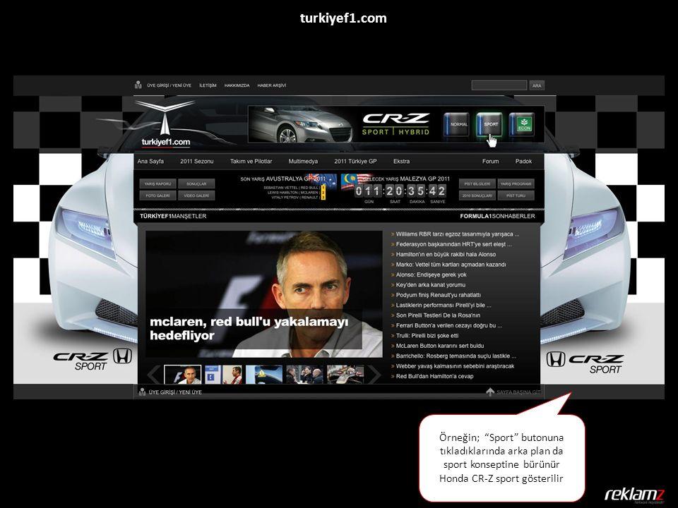 """Örneğin; """"Sport"""" butonuna tıkladıklarında arka plan da sport konseptine bürünür Honda CR-Z sport gösterilir turkiyef1.com"""