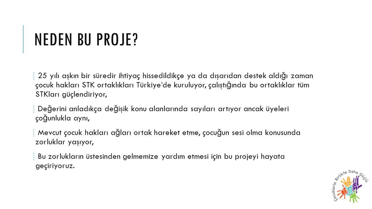 NEDEN BU PROJE? ⁞ 25 yılı aşkın bir süredir ihtiyaç hissedildikçe ya da dışarıdan destek aldı ğ ı zaman çocuk hakları STK ortaklıkları Türkiye'de kuru