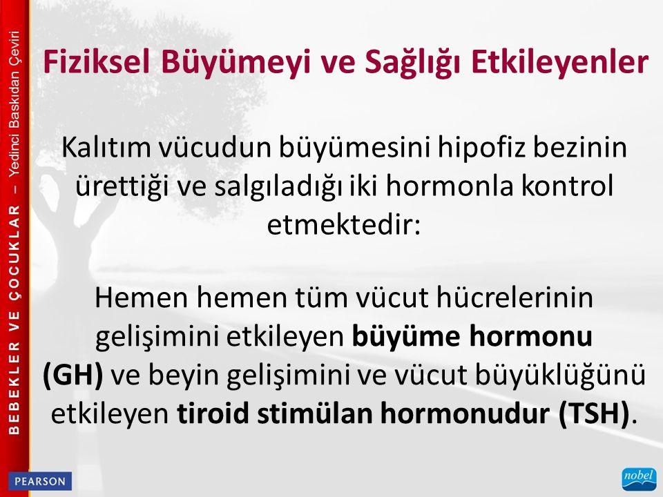 Kalıtım vücudun büyümesini hipofiz bezinin ürettiği ve salgıladığı iki hormonla kontrol etmektedir: Hemen hemen tüm vücut hücrelerinin gelişimini etki