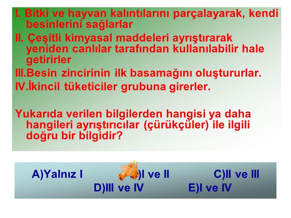 A)Yalnız I B)I ve II C)II ve III D)III ve IV E)I ve IV I. Bitki ve hayvan kalıntılarını parçalayarak, kendi besinlerini sağlarlar II. Çeşitli kimyasal
