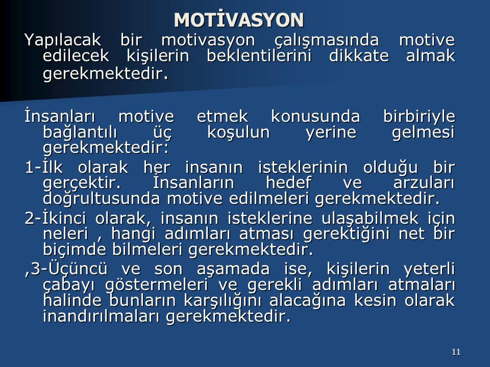 MOTİVASYON Yapılacak bir motivasyon çalışmasında motive edilecek kişilerin beklentilerini dikkate almak gerekmektedir.