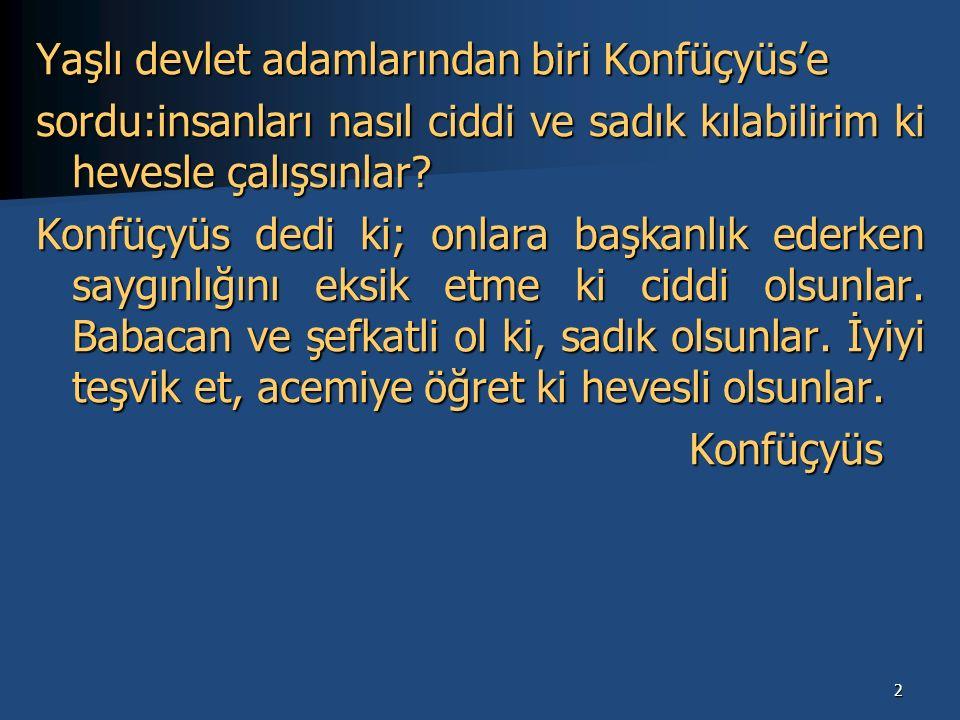 2 Yaşlı devlet adamlarından biri Konfüçyüs'e sordu:insanları nasıl ciddi ve sadık kılabilirim ki hevesle çalışsınlar.