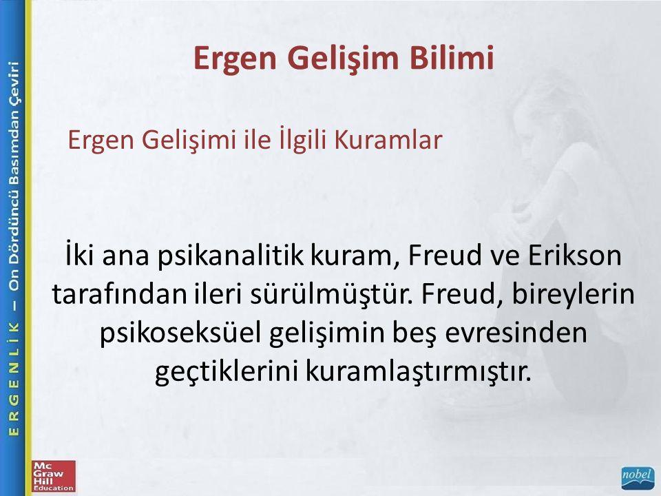 Ergen Gelişim Bilimi Ergen Gelişimi ile İlgili Kuramlar İki ana psikanalitik kuram, Freud ve Erikson tarafından ileri sürülmüştür. Freud, bireylerin p