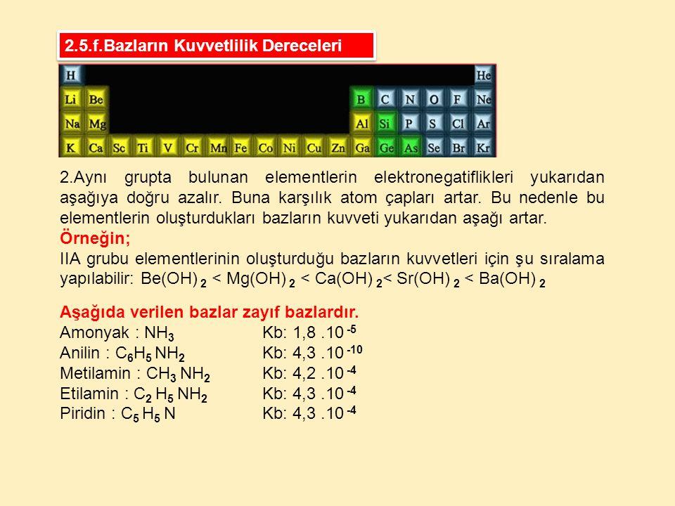 2.Aynı grupta bulunan elementlerin elektronegatiflikleri yukarıdan aşağıya doğru azalır. Buna karşılık atom çapları artar. Bu nedenle bu elementlerin