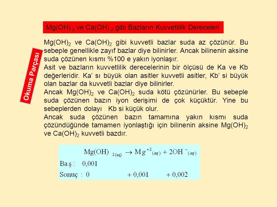 Mg(OH) 2 ve Ca(OH) 2 gibi kuvvetli bazlar suda az çözünür. Bu sebeple genellikle zayıf bazlar diye bilinirler. Ancak bilinenin aksine suda çözünen kıs