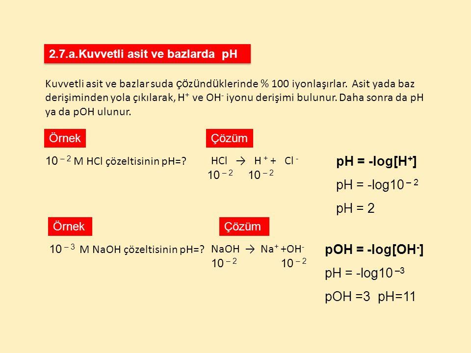 Kuvvetli asit ve bazlar suda çö z ü nd ü klerinde % 100 iyonlaşırlar. Asit yada baz derişiminden yola çıkılarak, H + ve OH - iyonu derişimi bulunur. D