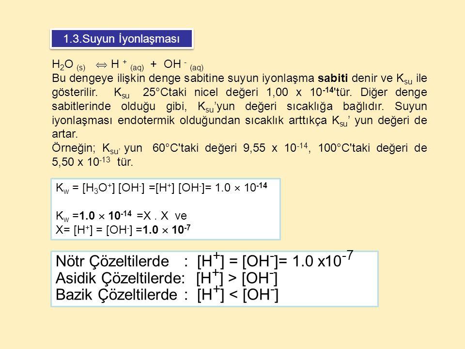 K w = [H 3 O + ] [OH - ] =[H + ] [OH - ]= 1.0  10 -14 K w =1.0  10 -14 =X. X ve X= [H + ] = [OH - ] =1.0  10 -7 H 2 O (s)  H + (aq) + OH - (aq) Bu