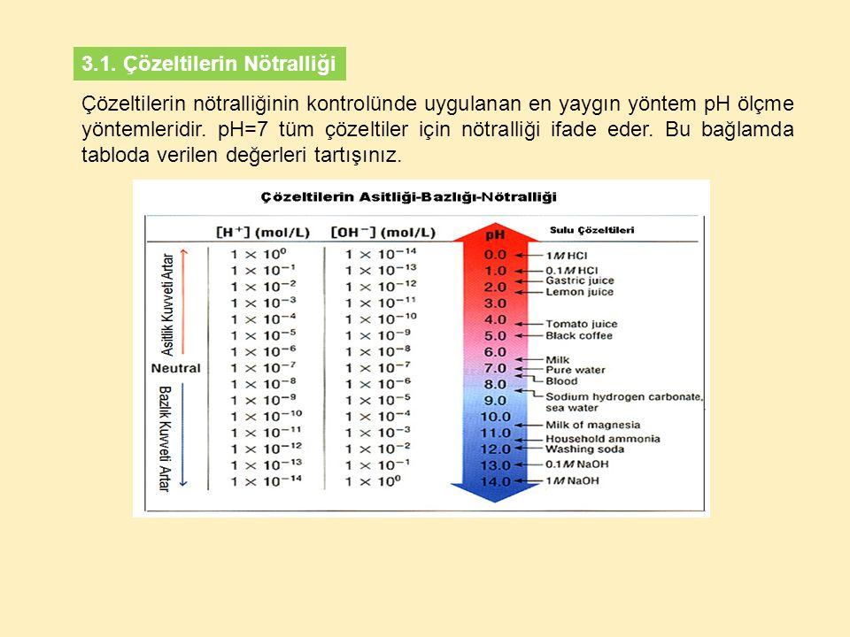 3.1. Çözeltilerin Nötralliği Çözeltilerin nötralliğinin kontrolünde uygulanan en yaygın yöntem pH ölçme yöntemleridir. pH=7 tüm çözeltiler için nötral