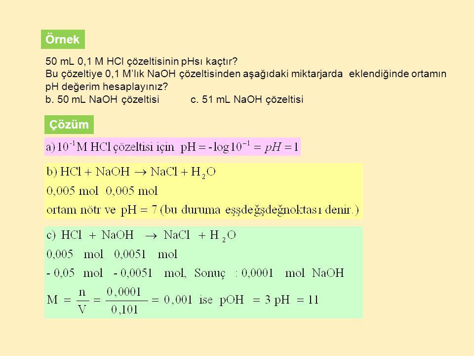 50 mL 0,1 M HCl çözeltisinin pHsı kaçtır? Bu çözeltiye 0,1 M'lık NaOH çözeltisinden aşağıdaki miktarjarda eklendiğinde ortamın pH değerim hesaplayınız