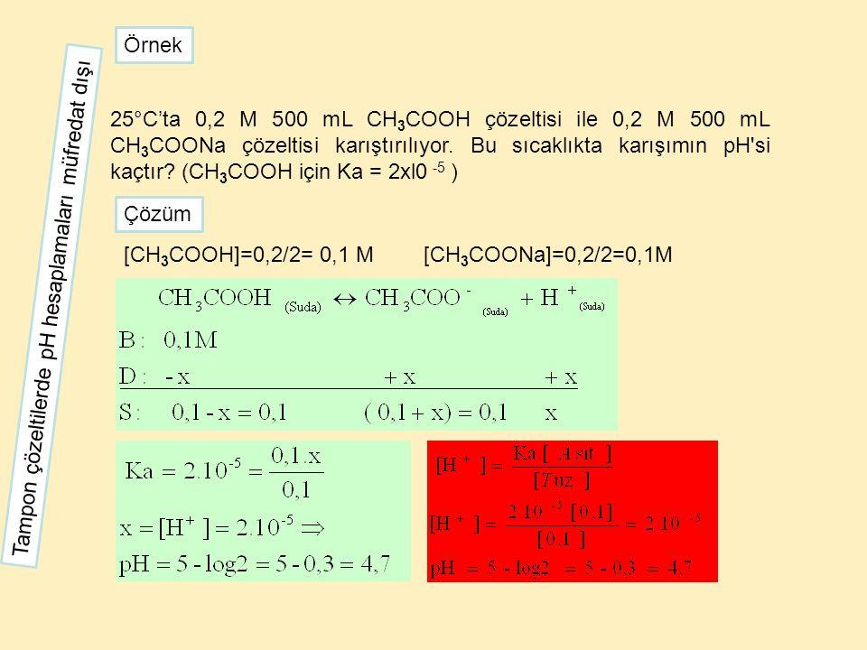 25°C'ta 0,2 M 500 mL CH 3 COOH çözeltisi ile 0,2 M 500 mL CH 3 COONa çözeltisi karıştırılıyor. Bu sıcaklıkta karışımın pH'si kaçtır? (CH 3 COOH için K