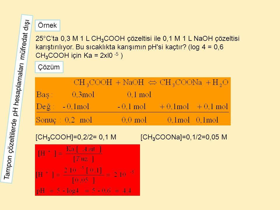 25°C'ta 0,3 M 1 L CH 3 COOH çözeltisi ile 0,1 M 1 L NaOH çözeltisi karıştırılıyor. Bu sıcaklıkta karışımın pH'si kaçtır? (log 4 = 0,6 CH 3 COOH için K