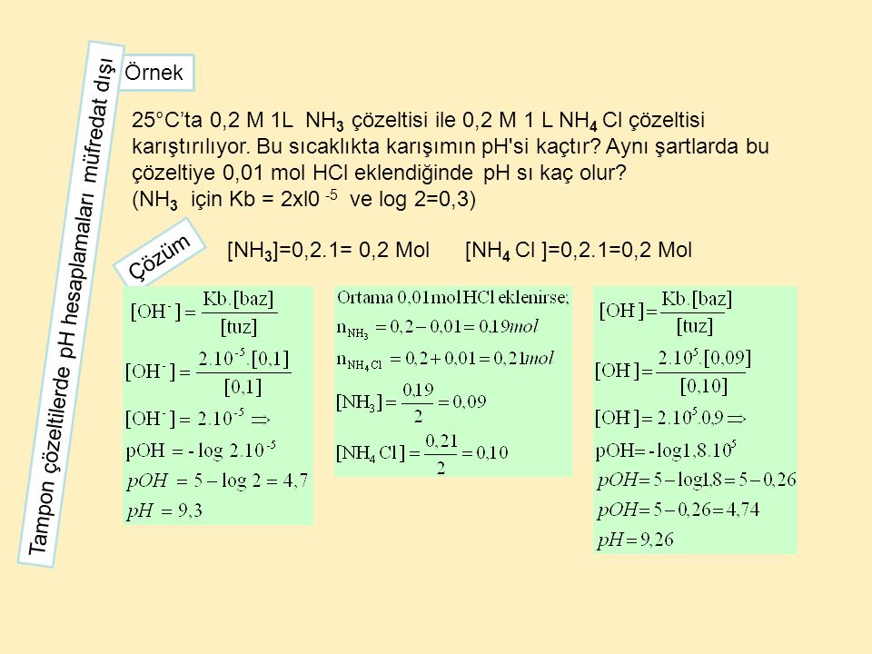 25°C'ta 0,2 M 1L NH 3 çözeltisi ile 0,2 M 1 L NH 4 Cl çözeltisi karıştırılıyor. Bu sıcaklıkta karışımın pH'si kaçtır? Aynı şartlarda bu çözeltiye 0,01