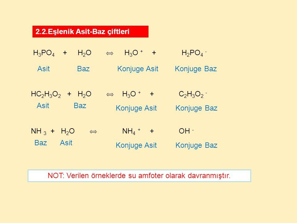 2.2.Eşlenik Asit-Baz çiftleri HC 2 H 3 O 2 + H 2 O  H 3 O + + C 2 H 3 O 2 - BazAsit Konjuge AsitKonjuge Baz NOT: Verilen örneklerde su amfoter olarak