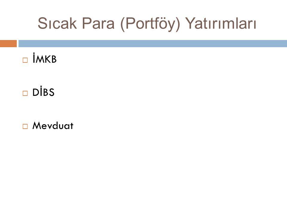 Sıcak Para (Portföy) Yatırımları  İ MKB  D İ BS  Mevduat
