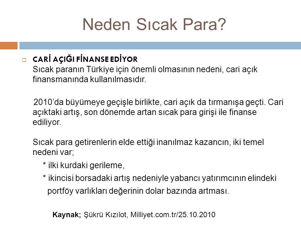 Neden Sıcak Para?  CAR İ AÇI Ğ I F İ NANSE ED İ YOR Sıcak paranın Türkiye için önemli olmasının nedeni, cari açık finansmanında kullanılmasıdır. 2010