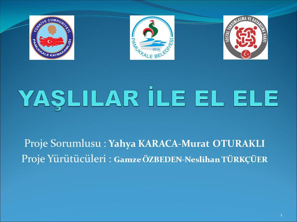 Proje Sorumlusu : Yahya KARACA-Murat OTURAKLI Proje Yürütücüleri : Gamze ÖZBEDEN-Neslihan TÜRKÇÜER 1