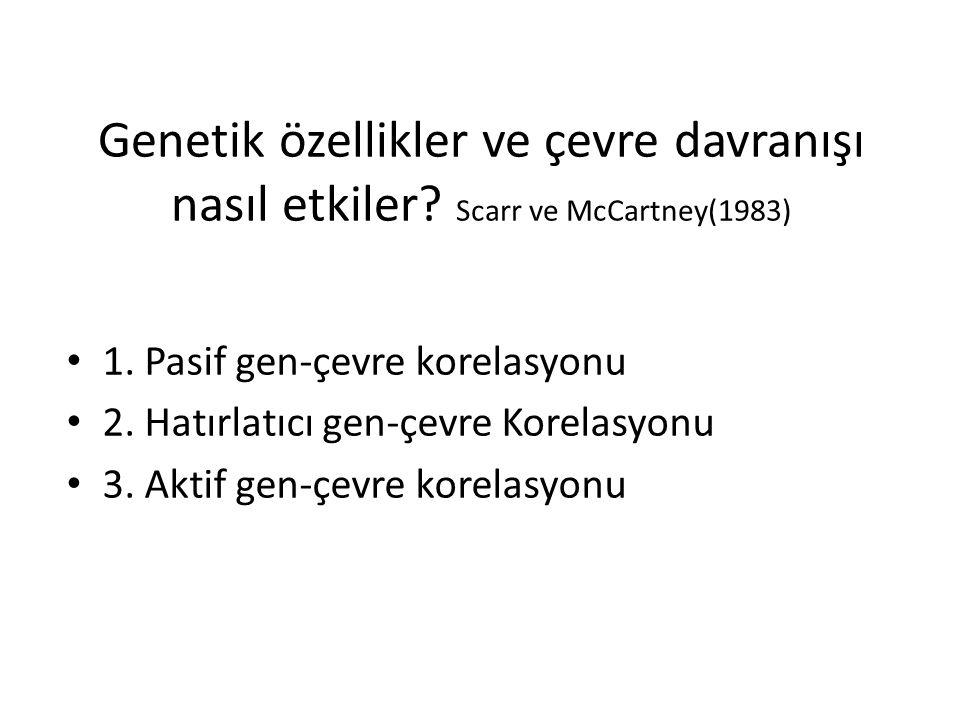 Genetik özellikler ve çevre davranışı nasıl etkiler? Scarr ve McCartney(1983) 1. Pasif gen-çevre korelasyonu 2. Hatırlatıcı gen-çevre Korelasyonu 3. A
