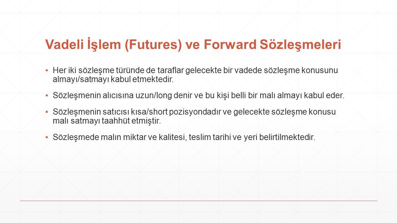 Futures ve Forwards Farkları FuturesForwards Standart kontratlarPazarlığa tabi LikitLikit değil Karşı taraf riski yokKarşı taraf riski var Malın teslimi genellikle yokMalın teslimi var Marking to marketVadeye kadar nakit ödeme yok