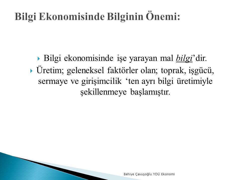  Bilgi ekonomisinde işe yarayan mal bilgi'dir.
