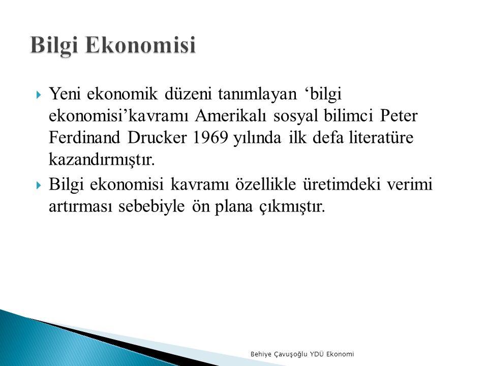  Yeni ekonomik düzeni tanımlayan 'bilgi ekonomisi'kavramı Amerikalı sosyal bilimci Peter Ferdinand Drucker 1969 yılında ilk defa literatüre kazandırmıştır.