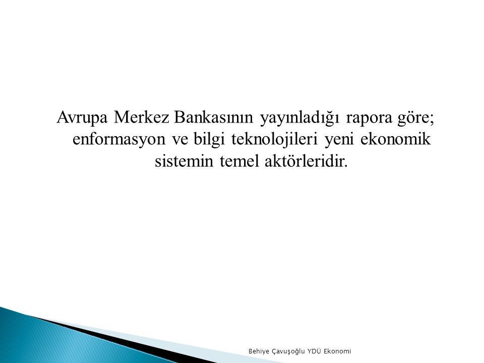 Avrupa Merkez Bankasının yayınladığı rapora göre; enformasyon ve bilgi teknolojileri yeni ekonomik sistemin temel aktörleridir.