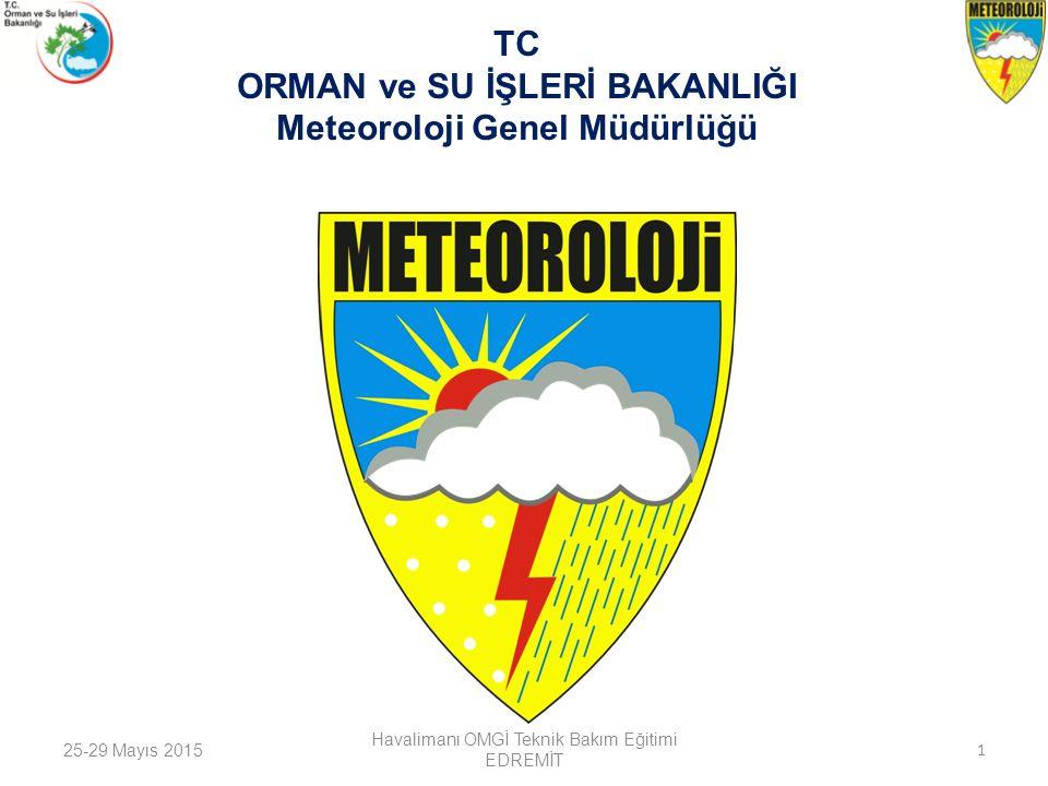 25-29 Mayıs 2015 Havalimanı OMGİ Teknik Bakım Eğitimi EDREMİT 1 TC ORMAN ve SU İŞLERİ BAKANLIĞI Meteoroloji Genel Müdürlüğü