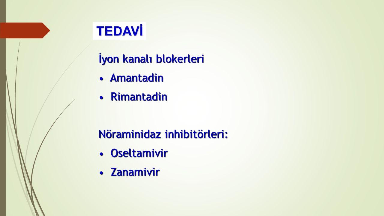 İyon kanalı blokerleri Amantadin Amantadin Rimantadin Rimantadin Nöraminidaz inhibitörleri: Oseltamivir Oseltamivir Zanamivir Zanamivir TEDAVİ