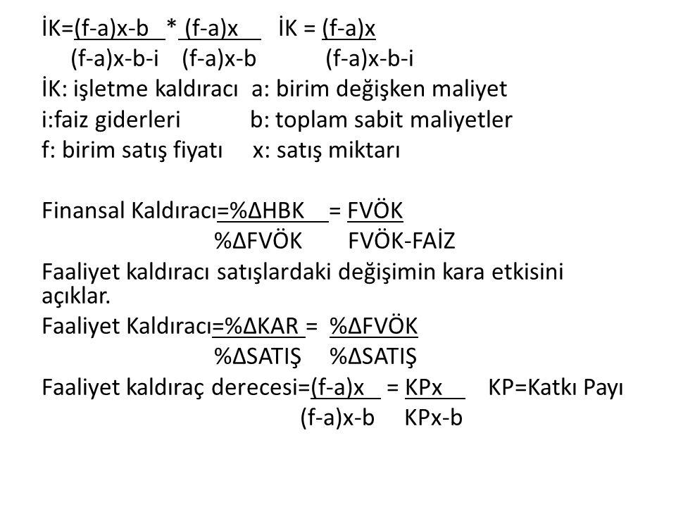 İK=(f-a)x-b * (f-a)x İK = (f-a)x (f-a)x-b-i (f-a)x-b (f-a)x-b-i İK: işletme kaldıracı a: birim değişken maliyet i:faiz giderleri b: toplam sabit maliyetler f: birim satış fiyatı x: satış miktarı Finansal Kaldıracı=%ΔHBK = FVÖK %ΔFVÖK FVÖK-FAİZ Faaliyet kaldıracı satışlardaki değişimin kara etkisini açıklar.