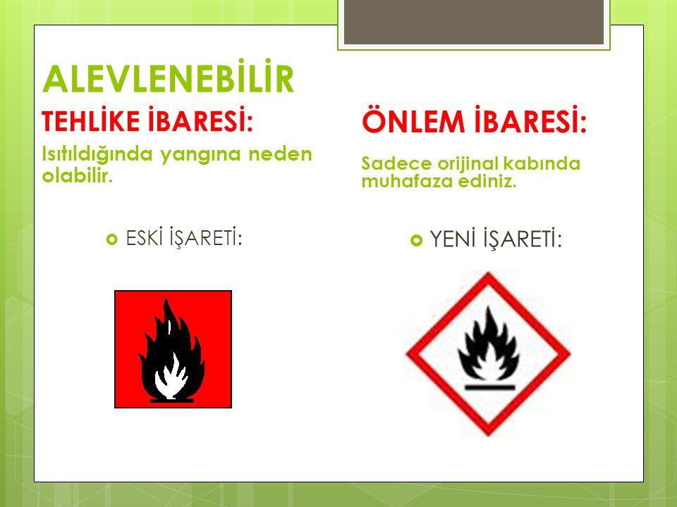 ALEVLENEBİLİR TEHLİKE İBARESİ: Isıtıldığında yangına neden olabilir.  ESKİ İŞARETİ: ÖNLEM İBARESİ: Sadece orijinal kabında muhafaza ediniz.  YENİ İŞ