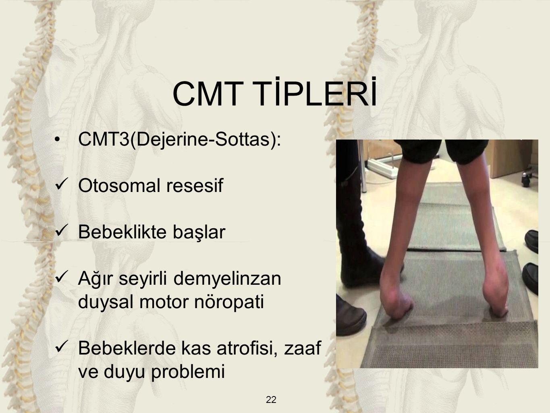 22 CMT3(Dejerine-Sottas): Otosomal resesif Bebeklikte başlar Ağır seyirli demyelinzan duysal motor nöropati Bebeklerde kas atrofisi, zaaf ve duyu problemi CMT TİPLERİ