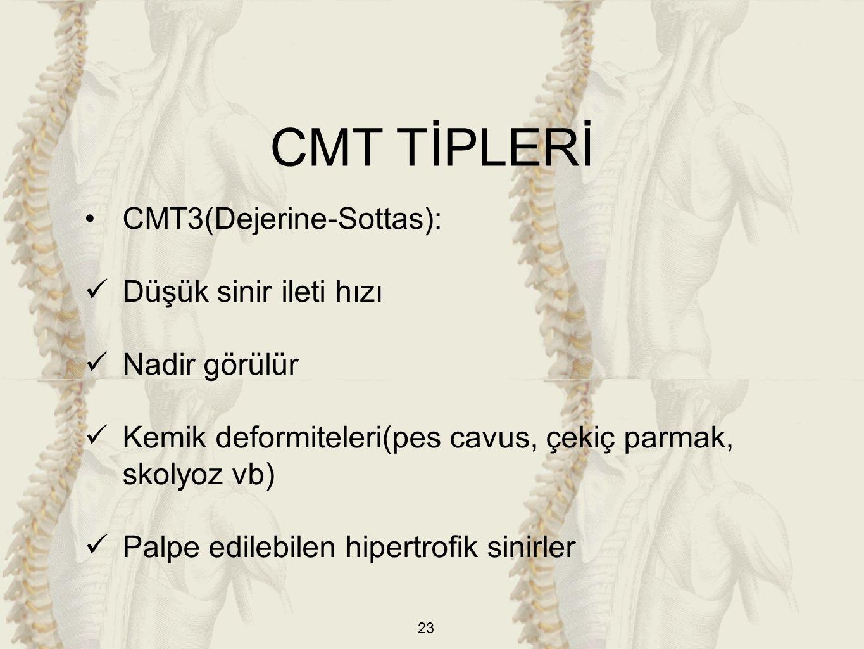 23 CMT3(Dejerine-Sottas): Düşük sinir ileti hızı Nadir görülür Kemik deformiteleri(pes cavus, çekiç parmak, skolyoz vb) Palpe edilebilen hipertrofik sinirler CMT TİPLERİ