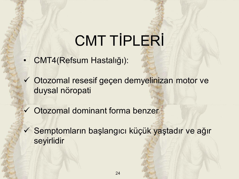 24 CMT4(Refsum Hastalığı): Otozomal resesif geçen demyelinizan motor ve duysal nöropati Otozomal dominant forma benzer Semptomların başlangıcı küçük yaştadır ve ağır seyirlidir CMT TİPLERİ