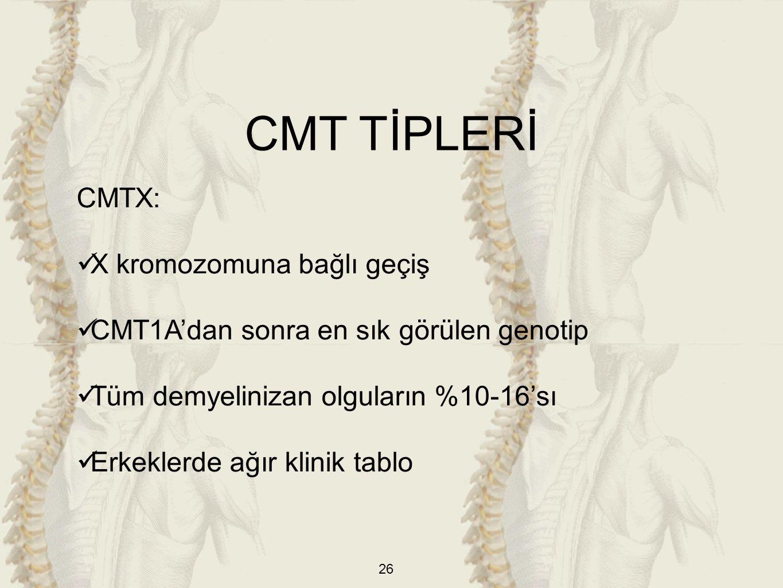 26 CMTX: X kromozomuna bağlı geçiş CMT1A'dan sonra en sık görülen genotip Tüm demyelinizan olguların %10-16'sı Erkeklerde ağır klinik tablo CMT TİPLERİ