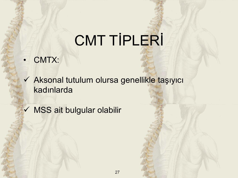 27 CMTX: Aksonal tutulum olursa genellikle taşıyıcı kadınlarda MSS ait bulgular olabilir CMT TİPLERİ