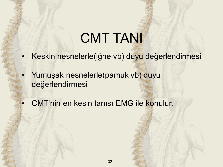 32 Keskin nesnelerle(iğne vb) duyu değerlendirmesi Yumuşak nesnelerle(pamuk vb) duyu değerlendirmesi CMT'nin en kesin tanısı EMG ile konulur.