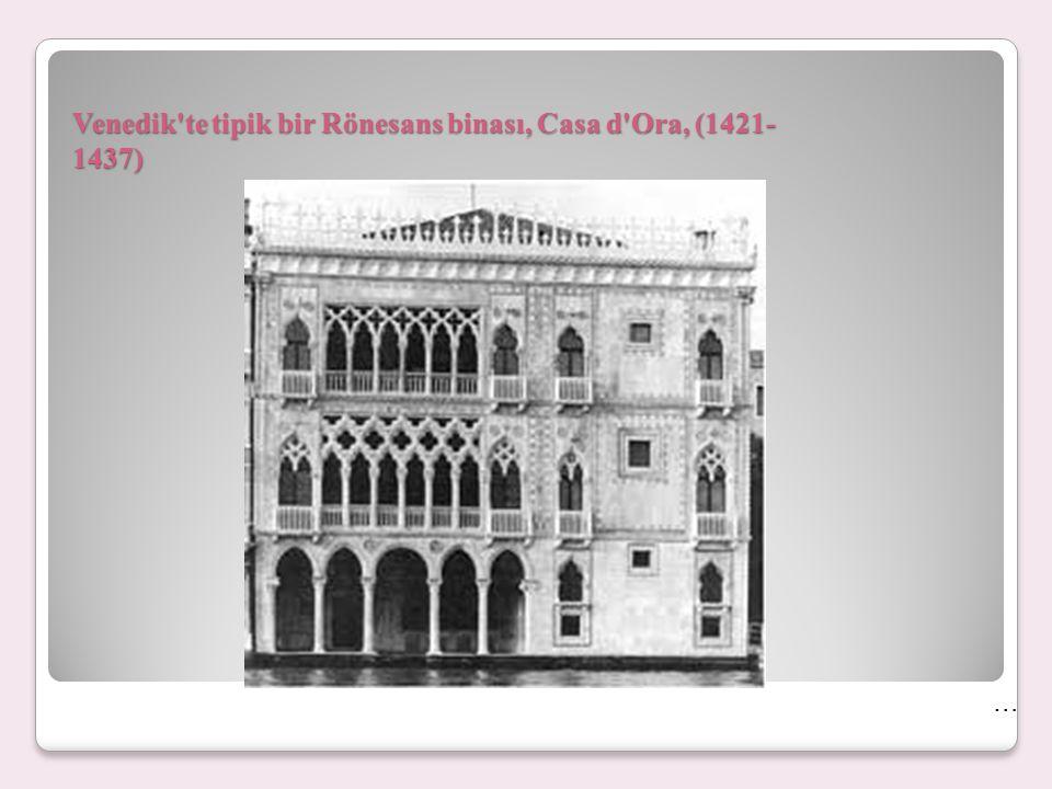 Venedik'te tipik bir Rönesans binası, Casa d'Ora, (1421- 1437) …