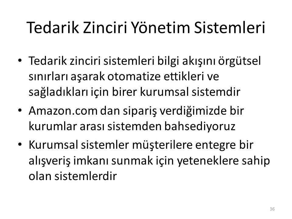 Tedarik Zinciri Yönetim Sistemleri Tedarik zinciri sistemleri bilgi akışını örgütsel sınırları aşarak otomatize ettikleri ve sağladıkları için birer kurumsal sistemdir Amazon.com dan sipariş verdiğimizde bir kurumlar arası sistemden bahsediyoruz Kurumsal sistemler müşterilere entegre bir alışveriş imkanı sunmak için yeteneklere sahip olan sistemlerdir 36