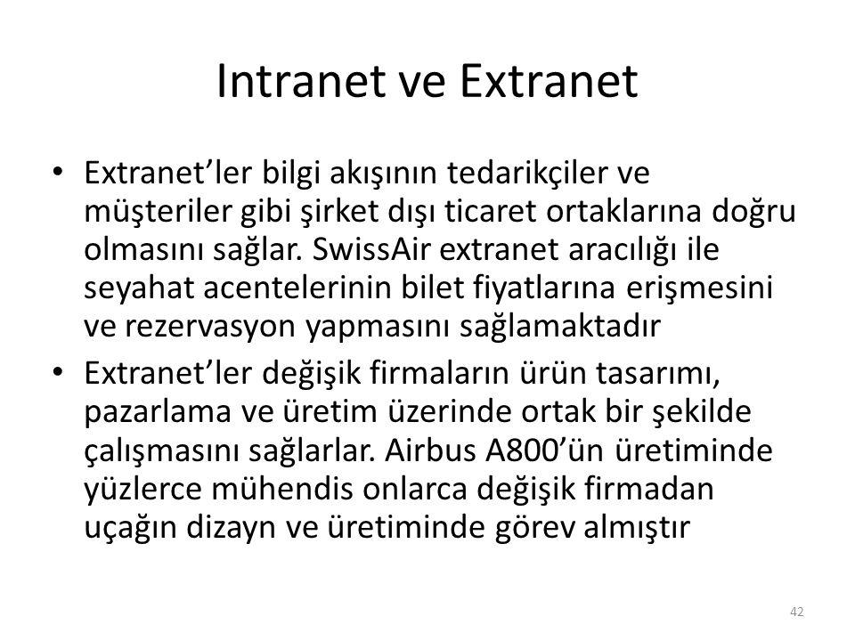 Intranet ve Extranet Extranet'ler bilgi akışının tedarikçiler ve müşteriler gibi şirket dışı ticaret ortaklarına doğru olmasını sağlar. SwissAir extra