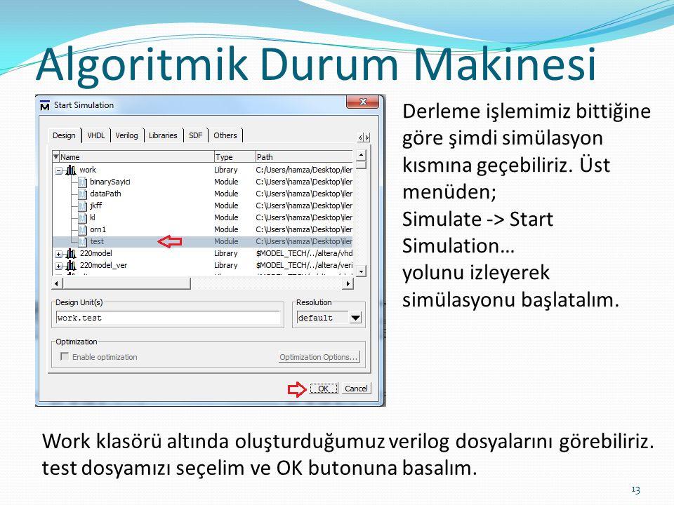 Algoritmik Durum Makinesi 13 Derleme işlemimiz bittiğine göre şimdi simülasyon kısmına geçebiliriz. Üst menüden; Simulate -> Start Simulation… yolunu