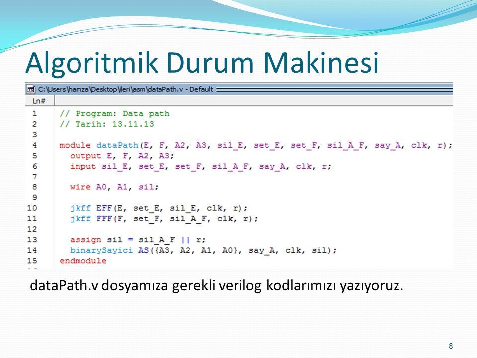 Algoritmik Durum Makinesi 8 dataPath.v dosyamıza gerekli verilog kodlarımızı yazıyoruz.