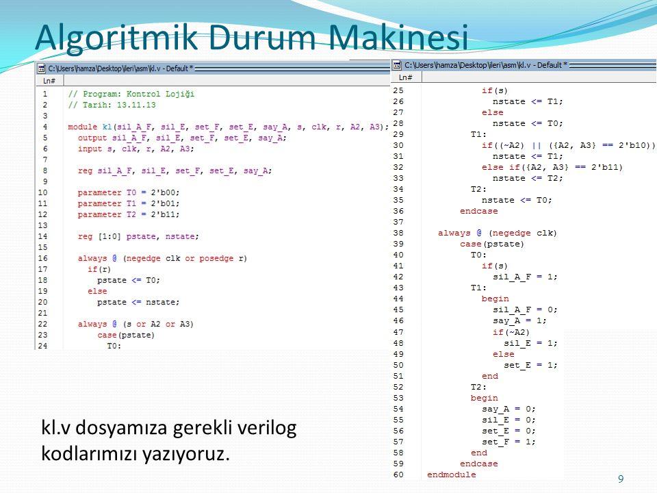 Algoritmik Durum Makinesi 9 kl.v dosyamıza gerekli verilog kodlarımızı yazıyoruz.