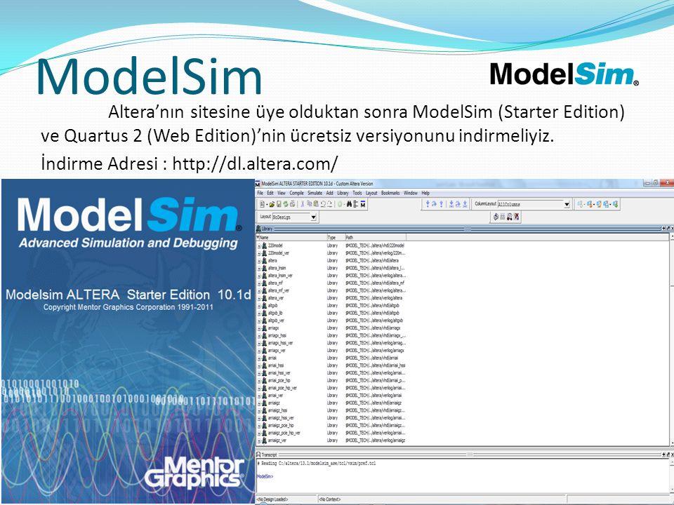 ModelSim Altera'nın sitesine üye olduktan sonra ModelSim (Starter Edition) ve Quartus 2 (Web Edition)'nin ücretsiz versiyonunu indirmeliyiz. İndirme A
