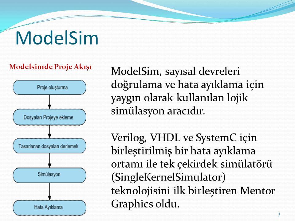 ModelSim 3 ModelSim, sayısal devreleri doğrulama ve hata ayıklama için yaygın olarak kullanılan lojik simülasyon aracıdır. Verilog, VHDL ve SystemC iç