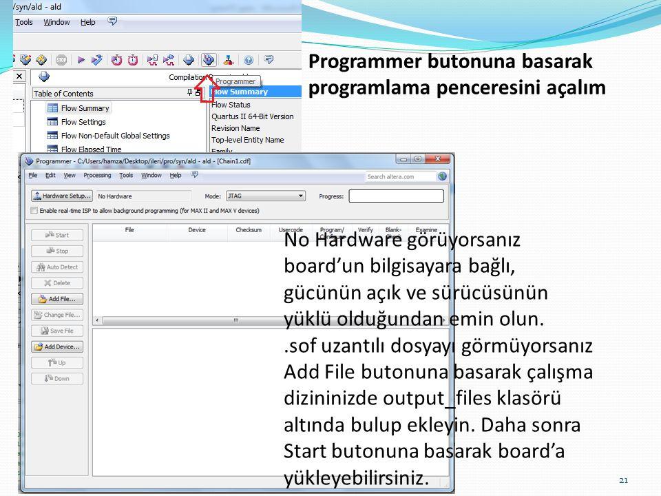21 Programmer butonuna basarak programlama penceresini açalım No Hardware görüyorsanız board'un bilgisayara bağlı, gücünün açık ve sürücüsünün yüklü o