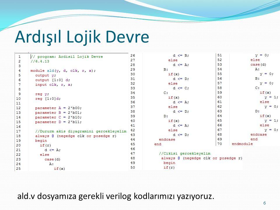 Ardışıl Lojik Devre 6 ald.v dosyamıza gerekli verilog kodlarımızı yazıyoruz.