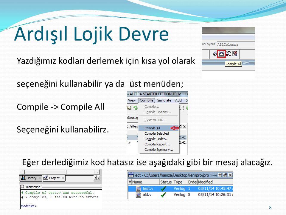 Ardışıl Lojik Devre 8 Yazdığımız kodları derlemek için kısa yol olarak seçeneğini kullanabilir ya da üst menüden; Compile -> Compile All Seçeneğini ku