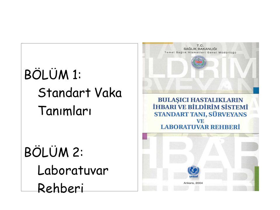 BÖLÜM 1: Standart Vaka Tanımları BÖLÜM 2: Laboratuvar Rehberi
