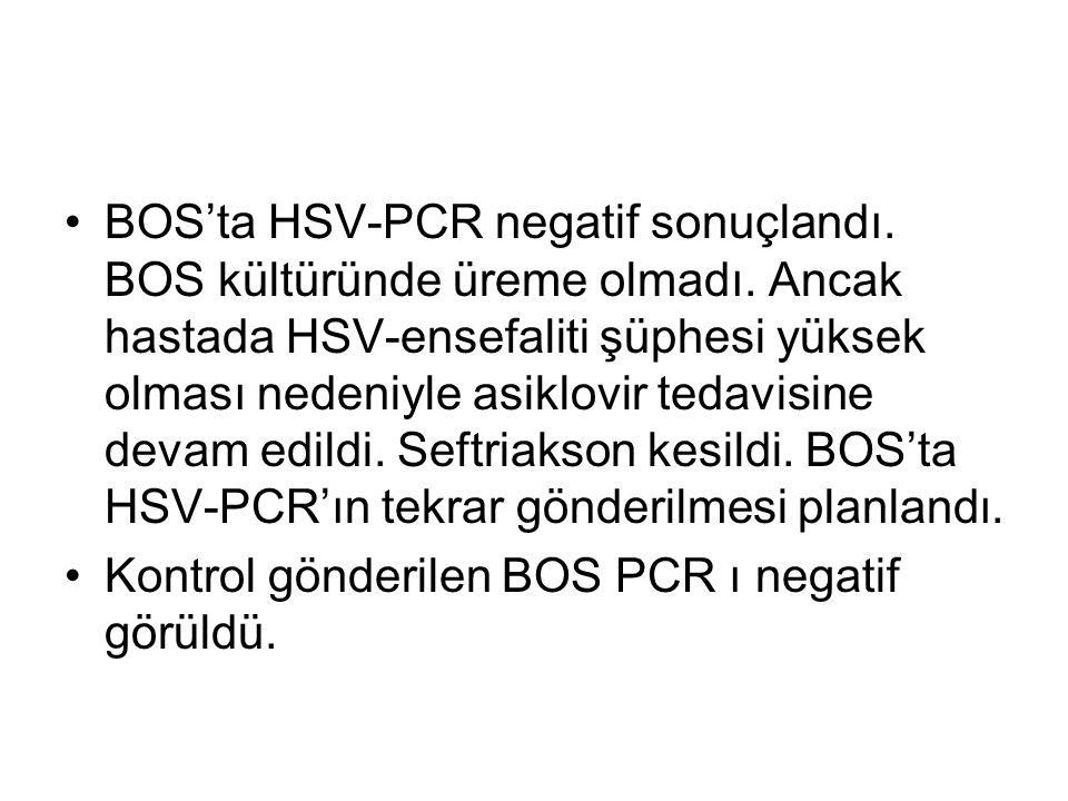 BOS'ta HSV-PCR negatif sonuçlandı. BOS kültüründe üreme olmadı.